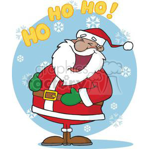 3396-Laughing-African-American-Santa-Claus-In-The-Snow clipart. Royalty-free image # 380880