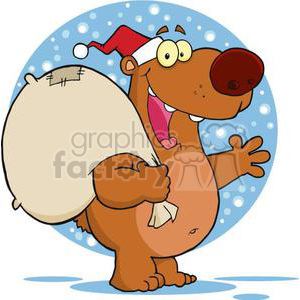 happy Santa bear holding a large sack clipart. Commercial use image # 380885