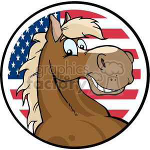 happy horse in front of an American flag clipart. Commercial use image # 380900