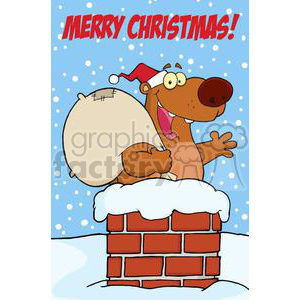 3431-Happy-Santa-Bear-Waving-A-Greeting-In-Chimney-With-Speech-Bubble clipart. Commercial use image # 380905