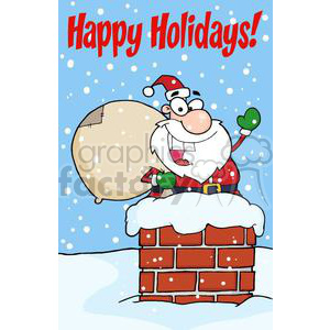 happy Holidays Santa Claus in chimney clipart. Royalty-free image # 380915