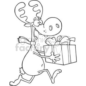 3330-Happy-Reindeer-Runs-With-Bag clipart. Royalty-free image # 380920