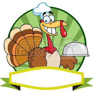 3513-Turkey-Chef-Serving-A-Platter-Over-A-Circle-And-Blank-Green-Banner clipart. Commercial use image # 380935