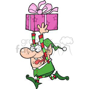 3334-Happy-Santas-Elf-Runs-With-Gift clipart. Royalty-free image # 380940