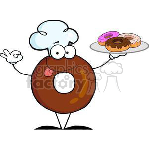 3482-Friendly-Donut-Chef-Cartoon-Character-Holding-A-Donuts clipart. Royalty-free image # 380945