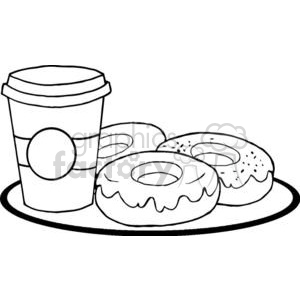 3487-Coffe-Cup-With-Donut clipart. Royalty-free image # 380950