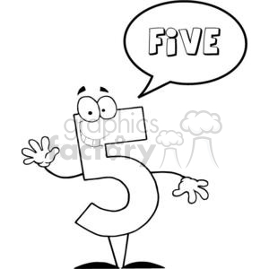 3454-Friendly-Number-5-Five-Guy-With-Speech-Bubble clipart  Royalty-free  clipart # 380965