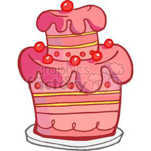 3494-Royalty-Free-RF-Clipart-Illustration-Pink-Two-Tiered-Cake clipart. Commercial use image # 380975