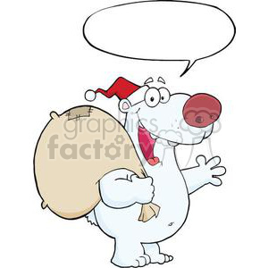 3433-Happy-Santa-Polar-Bear-Waving-A-Greeting-With-Speech-Bubble clipart. Commercial use image # 380995