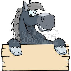 3364-Happy-Cartoon-Horse-With-A-Blank-Sign