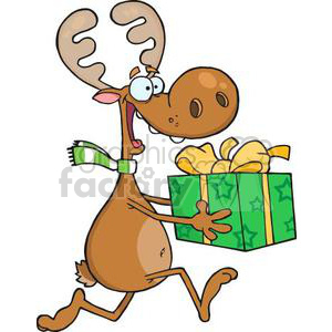3331-Happy-Reindeer-Runs-With-Gift clipart. Royalty-free image # 381010