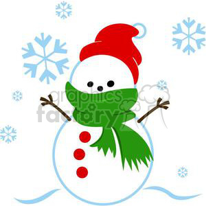 snowman with green scarf clipart. Commercial use image # 381030