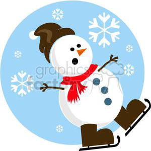 snowman ice skating clipart. Commercial use image # 381040
