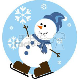 happy snowman with blue hat and brown skates clipart. Royalty-free image # 381045