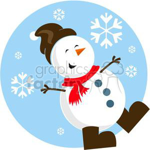 happy snowman with brown hat clipart. Royalty-free image # 381050