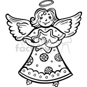 Christmas Xmas Holidays Happy Festive Black White cute funny cartoon vector royalty-free angel angels
