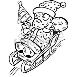 Santa sledding down a hill clipart. Commercial use image # 381094