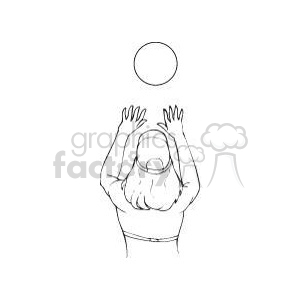 black and white image of a girl playing volleyball clipart. Commercial use image # 381169
