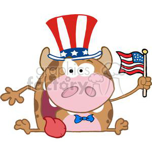 Patriotic-Calf-Cartoon-Character-Waving-An-American-Flag-On-Independence-Day clipart. Royalty-free image # 381211