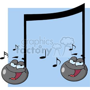 cartoon funny characters illustrations vector music note notes musical happy sing singing singer singers