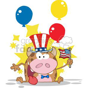3800-Patriotic-Calf-Cartoon-Character-Waving-An-American-Flag-On-Independence-Day clipart. Royalty-free image # 381241