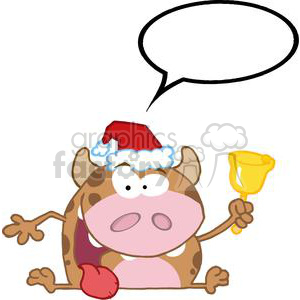 3784-Happy-Calf-Character-Ringing-A-Bell-Christmas clipart. Royalty-free image # 381261
