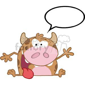 Happy-Calf-Cartoon-Character-Waving-A-Greeting-With-Speech-Bubble clipart. Royalty-free image # 381271