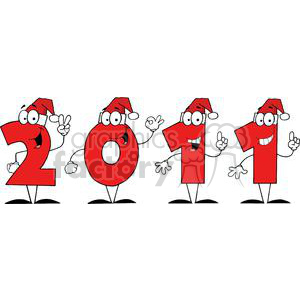 3844-2011-Year-Cartoon-Characters-Numbers-With-Santa-Hats clipart. Commercial use image # 381286