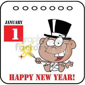 3736-New-Year-Baby-Cartoon-Callendar clipart. Commercial use image # 381291