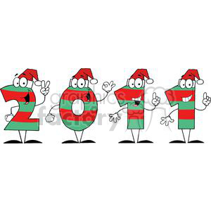 3845-2011-Year-Cartoon-Characters-Numbers-With-Santa-Hats clipart. Royalty-free image # 381296