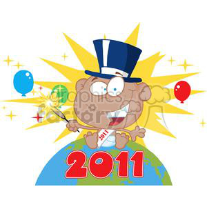 3830-New-Year-Baby-With-Fireworks-And-Balloons-Above-The-Globe clipart. Royalty-free image # 381306