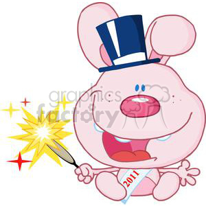 New-Pink-Year-Baby-Rabbit clipart. Royalty-free image # 381316