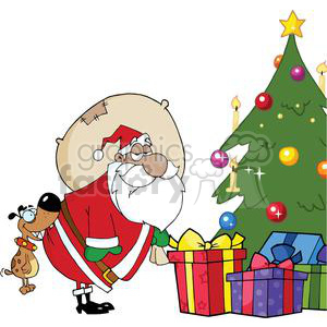 3864-Dog-Biting-A-Santa-Claus-Under-A-Christmas-Tree clipart. Commercial use image # 381321