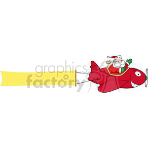 3808-Santa-Flying-With-Christmas-Plane-AndA-Blank-Banner-Attached clipart. Royalty-free image # 381336