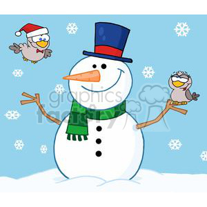 Friendly-Snowman-With-A-Cute-Birds-InThe-Snow clipart. Royalty-free image # 381341