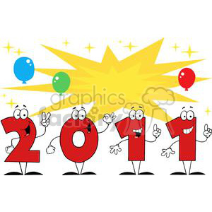 2011-Year-Cartoon-Character-With-Stars-And-Balloons clipart. Royalty-free image # 381346