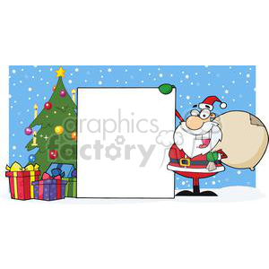 Santa Claus Presenting A Blank Sign With Christmas Tree clipart. Royalty-free image # 381351
