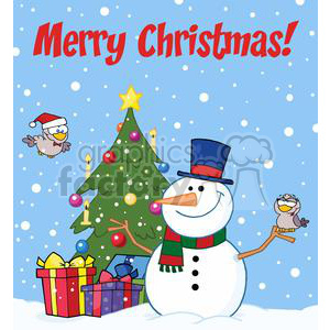 3704-Friendly-Snowman-With-A-Cute-Birds clipart. Royalty-free image # 381361