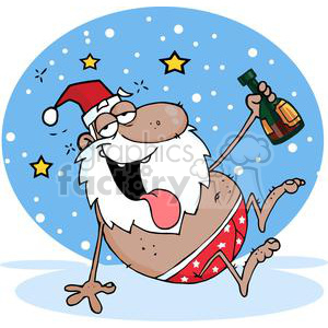 3805-Drunk-African-American-Santa-Clause clipart. Commercial use image # 381366