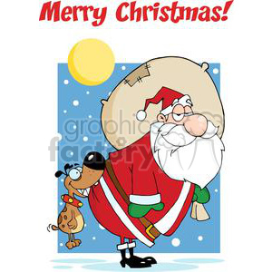 3860-Dog-Biting-A-Santa-Claus clipart. Royalty-free image # 381371