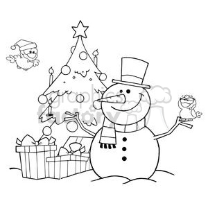 Outlined-Friendly-Snowman-With-A-Cute-Birds-And-Christmas-Tree clipart. Commercial use image # 381391