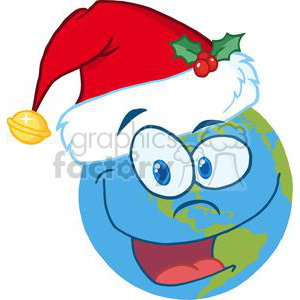 Santa-Hat-On-A-Earth-Cartoon-Character clipart. Commercial use image # 381401