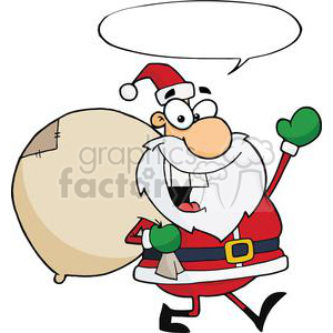 Jolly-Christmas-Santa-Waving-And-Walking-With-Speech-Bubble clipart. Royalty-free image # 381406