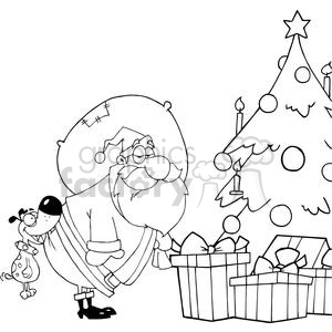 Dog-Biting-A-Santa-Claus-Under-A-Christmas-Tree clipart. Commercial use image # 381421