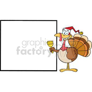 3717-Jolly-Santa-Turkey-Presenting-A-Blank-Sign-Board clipart. Royalty-free image # 381431