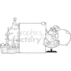 Outline-Santa-Claus-Presenting-A-Blank-Sign-With-Christmas-Tree clipart. Commercial use image # 381436