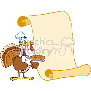 Happy-Turkey-Chef-With-Pie-And-Scroll clipart. Royalty-free image # 381441