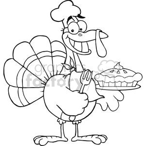 Happy Turkey Chef With Pie clipart. Royalty-free image # 381456