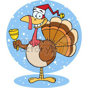 3651-Happy-Turkey-With-Santa-Hat clipart. Royalty-free image # 381461