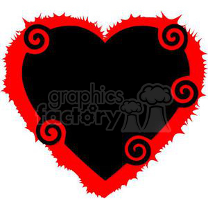 heart hearts Valentine Valentines love relationship relationships vector cartoon twirled twirl black red